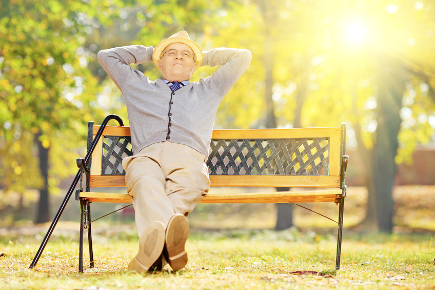 Relaxed senior gentleman sitting on wooden bench in a park