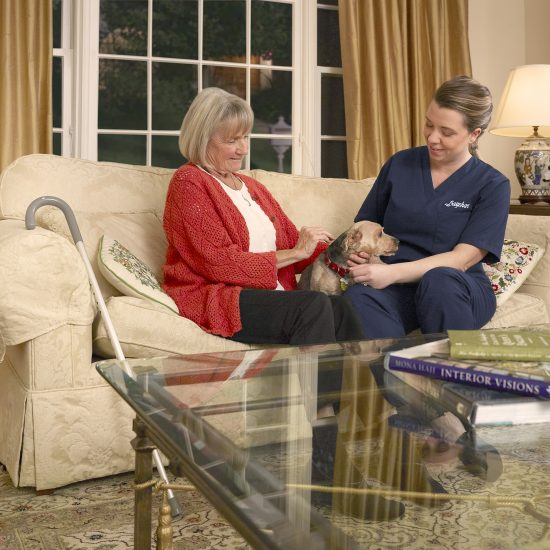 Bayshore HealthCare home care companionship playing with dog