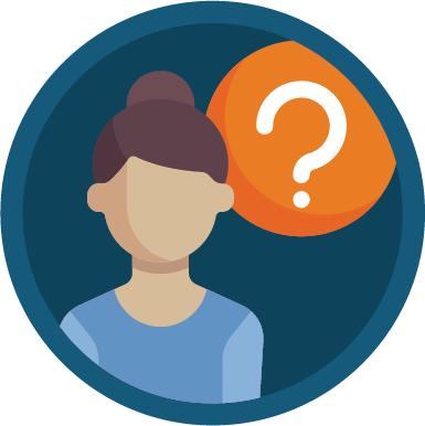 Lady with a question icon
