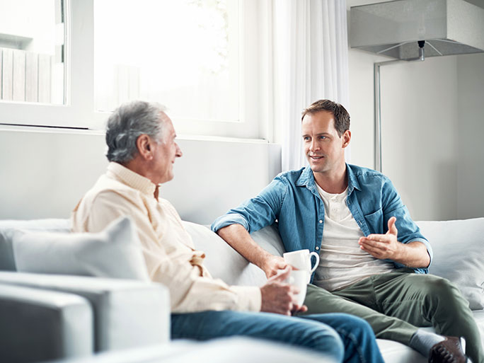 dad and son in conversation