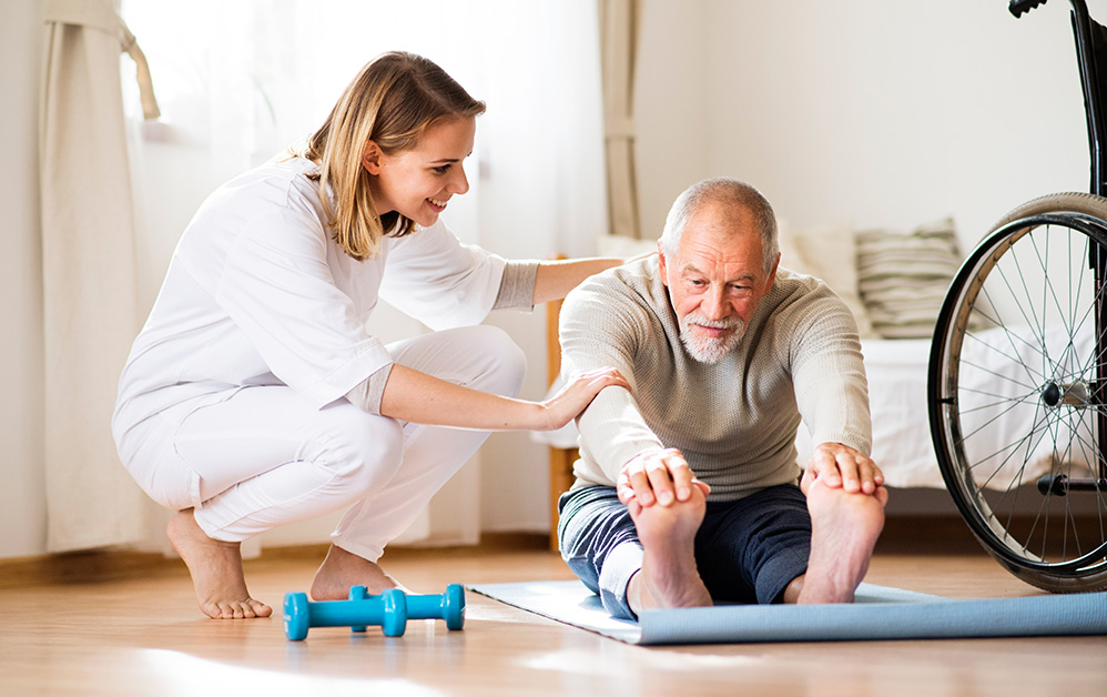 Helping senior with exersizes