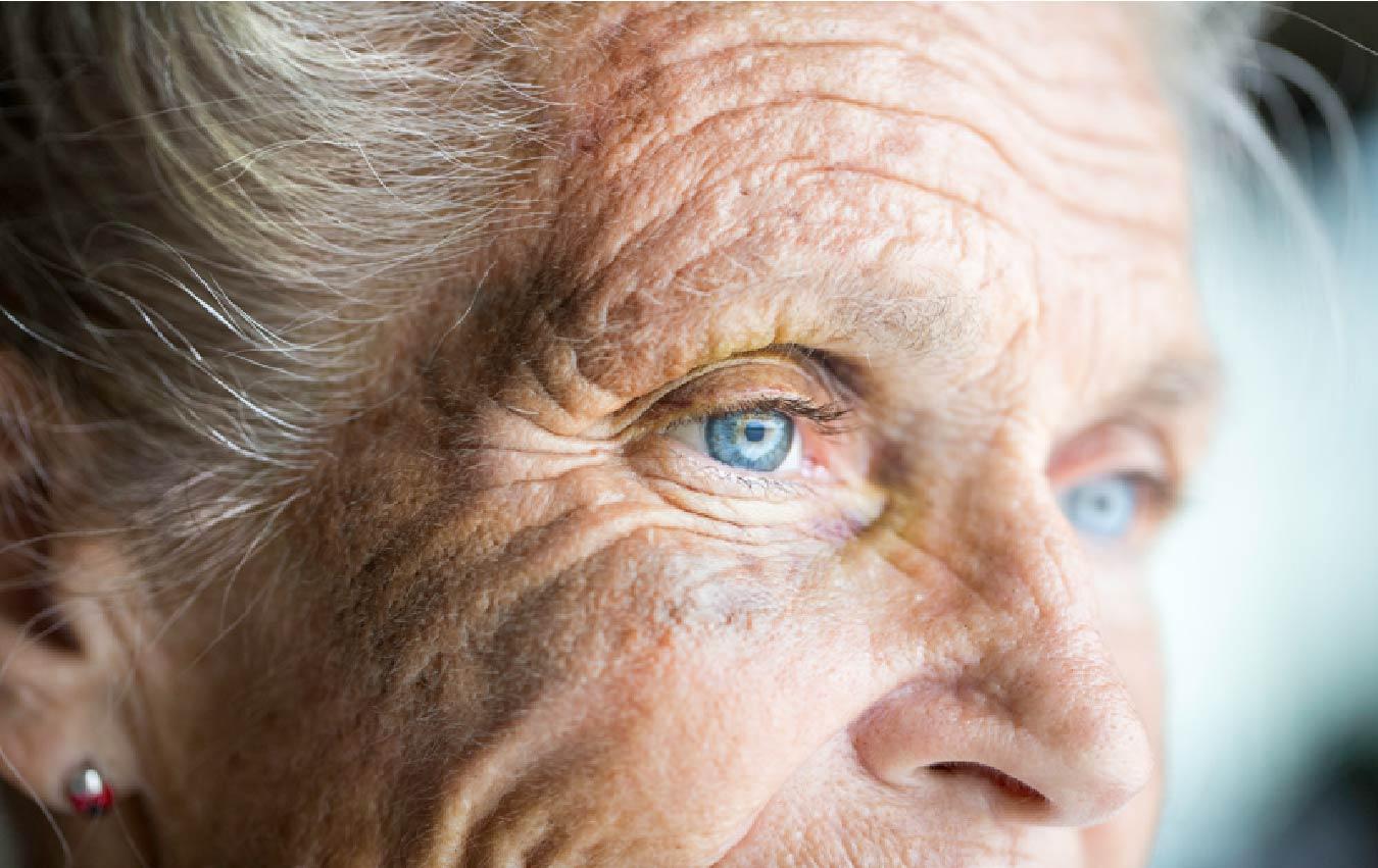 cropped photo of senior woman's eyes
