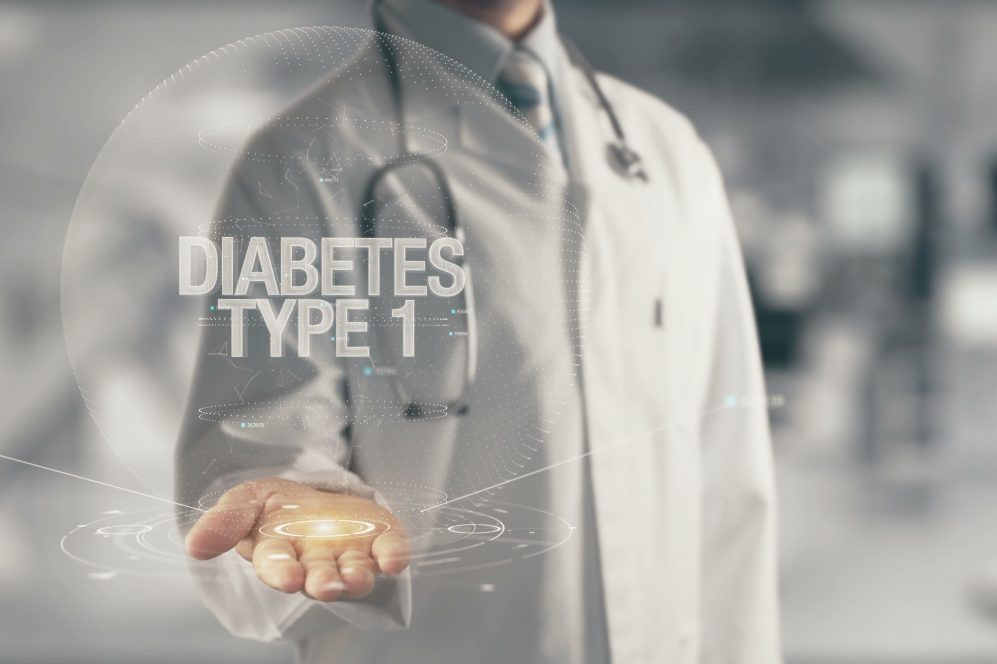 Doctor holding in hand Diabetes Type 1