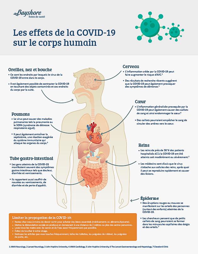 Les effets de la COVID-19 Graphiques informatifssur le corps humain