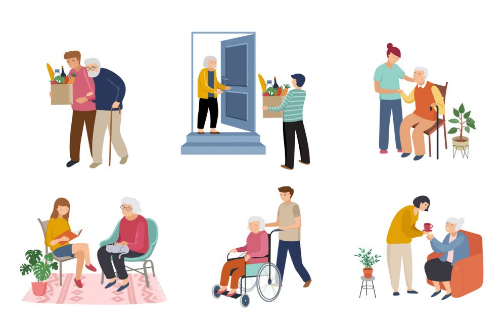 collage of illustrations of young people helping elderly people