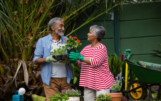 Senior couple looking at each other in backyard