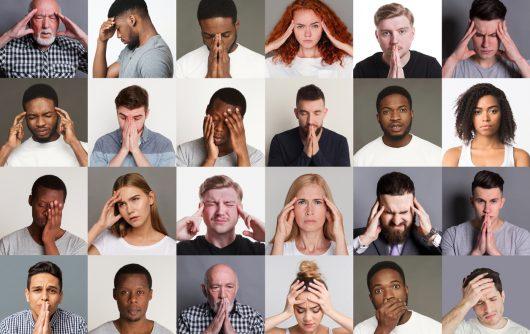 Collage avec diverses personnes souffrant de maux de tête, de stress ou de problèmes