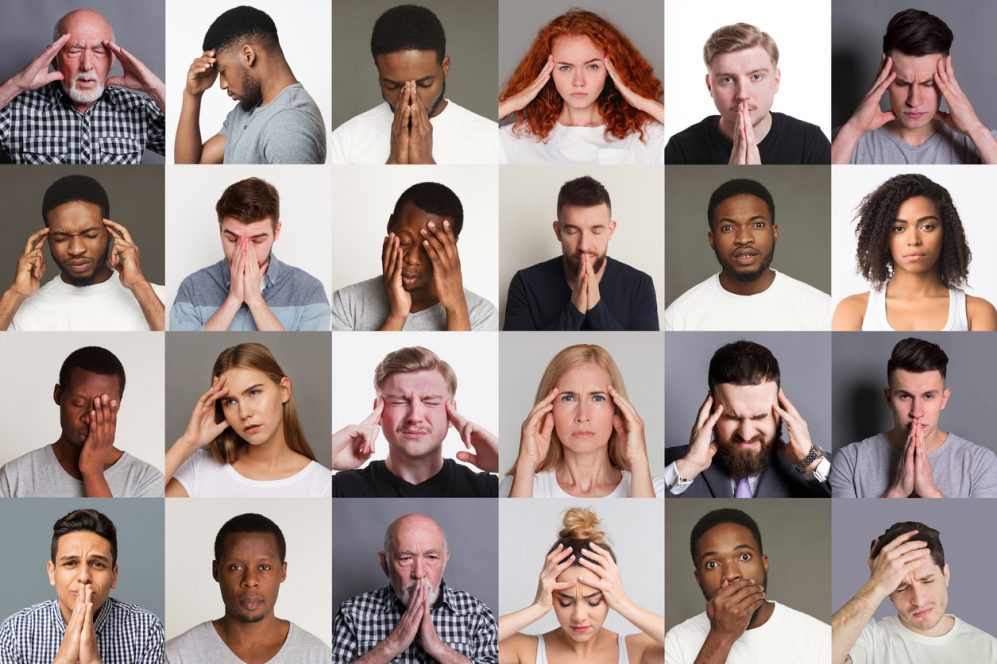 Collage with diverse people suffering from headache, stress or problems